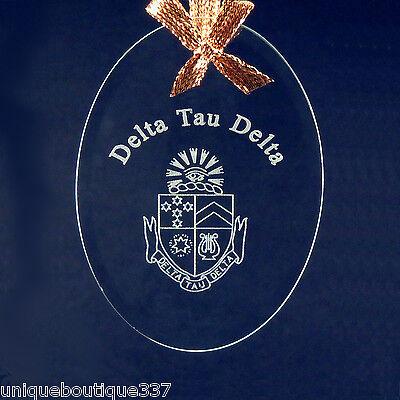 Delta Tau Delta, ΔΤΔ, Ornament/Sun Catcher Beveled Crystal W/ Crest