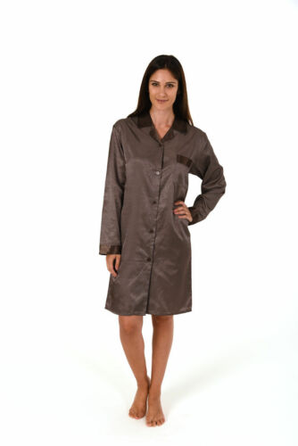 Damen Satin Nachthemd Duchgeknöpft Langarm 58359