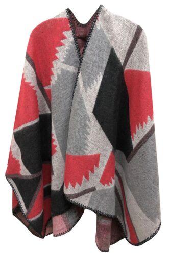 Block Print Women/'s Ladies Oversized Poncho Scarf Cape Shawl Wrap Warm Soft