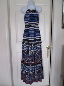 Umgee-Anthropologie-Boho-halter-maxi-dress-Size-S-red-amp-blue