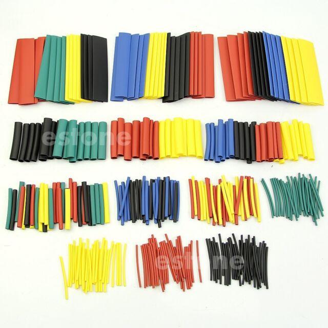 328Pcs Assortment 2:1 Heat Shrink Tube Sleeving Wrap Wire Kit 5 Colors 8 Sizes