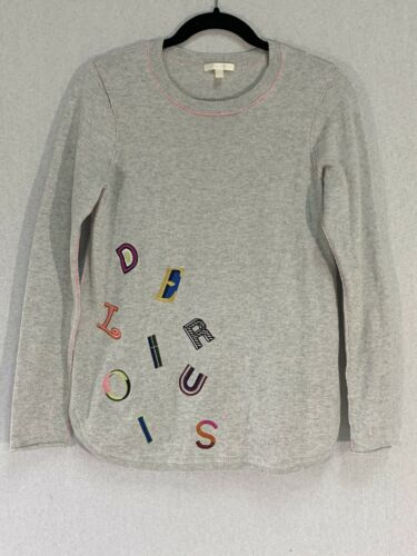 Lisa Todd Womens Size Small Gray Letter Sweater