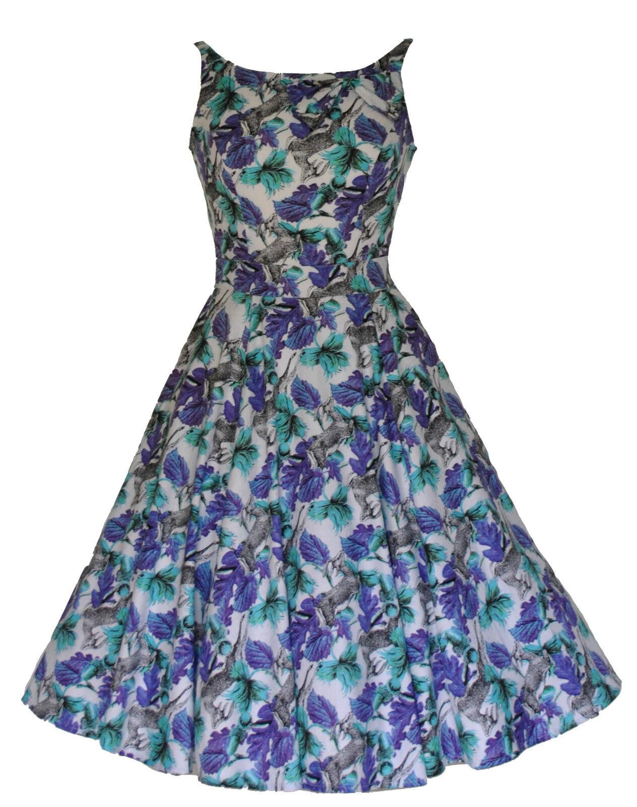 Stile Vintage 40's 40's 40's 50's ANTELOPE & Stampa Floreale Damascata FULL CIRCLE DRESS 8 - 18 ad9d05