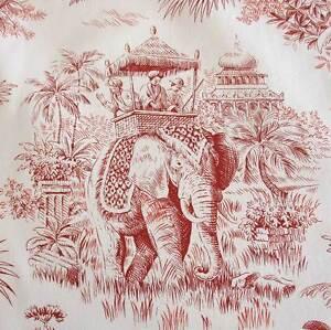 stoff meterware baumwolle toile de jouy kolonial rot ecru elefant tiger indien ebay. Black Bedroom Furniture Sets. Home Design Ideas