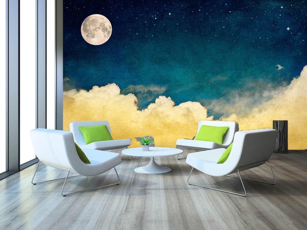 3D 3D 3D Moon Clouds 822 Wallpaper Mural Paper Wall Print Wallpaper Murals UK 9fb08e