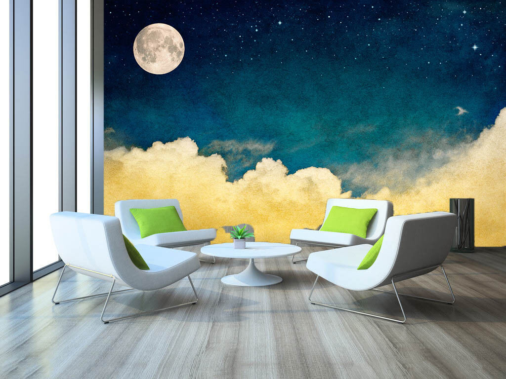3D 3D 3D Moon Clouds 822 Wallpaper Mural Paper Wall Print Wallpaper Murals UK 4c8197