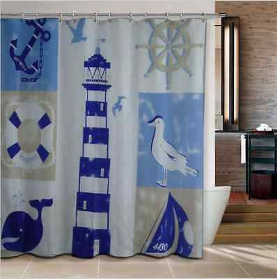Starfish Seashell Seascape Beach Shower Curtain Bathroom Diy Kids Retro Natural