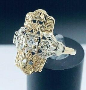 Antique-Vintage-14K-Gold-Two-Tone-Filigree-Diamond-Ring-D682