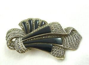Spilla-vintage-gioiello-Spilla-Pin-Argento-Sterling-MULTIFUNZIONE-Marcasite-Art-Deco-Stile