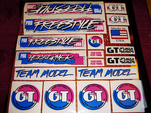 restoration decal set on clear Red Blue 1990 GT BMX PFT Pro Freestyle Tour