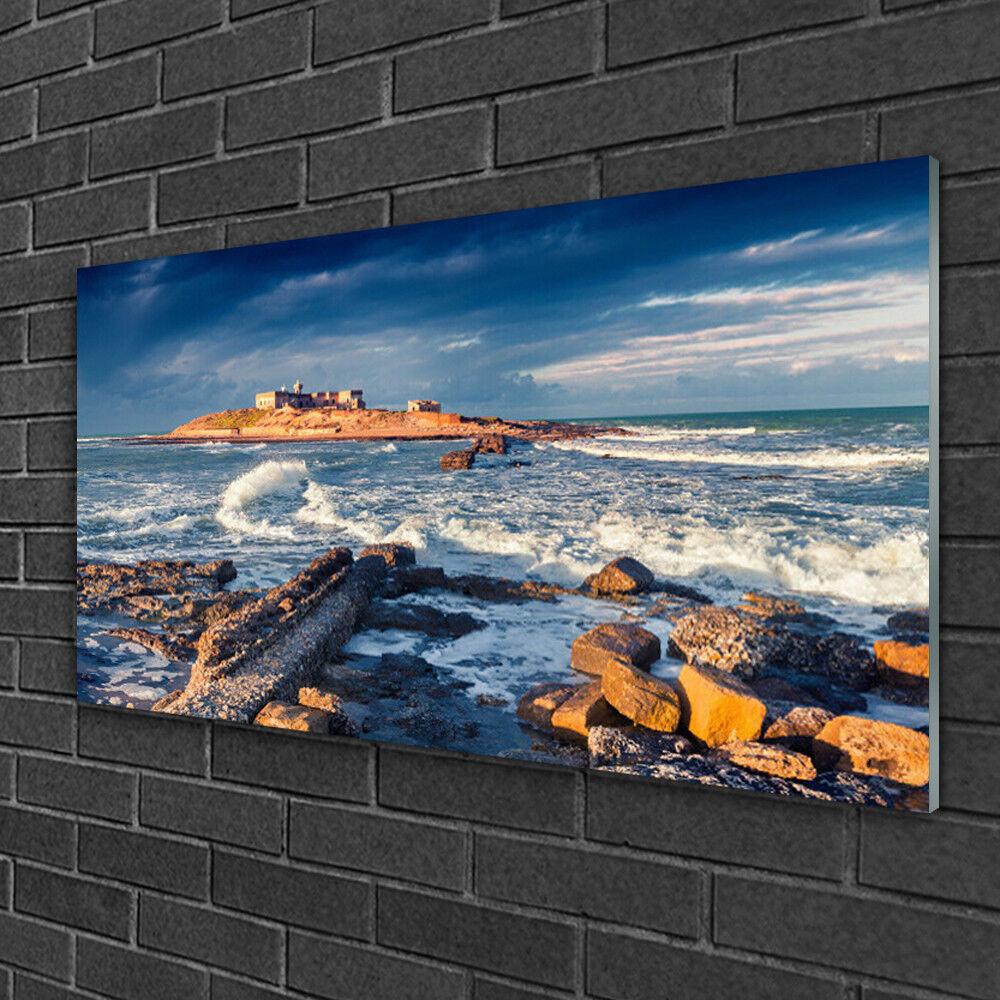 Tableau sur verre Image Impression 100x50 Paysage Mer Pierres