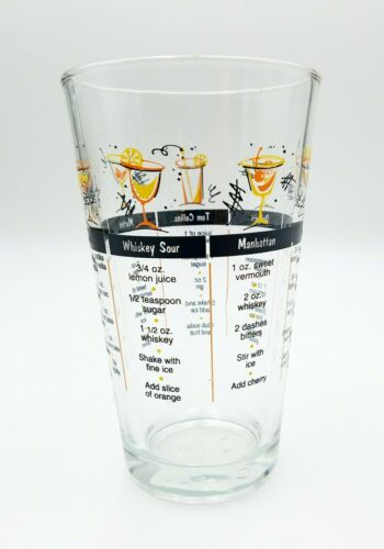 BAR GLASS WITH COCKTAIL DRINK RECIPES AND MEASURING BARTENDER HEAVY GLASS