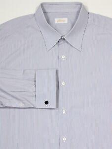 Brioni-Bleu-Ciel-Rouge-Blanc-Raye-Francais-Manchette-Robe-Coton-Chemise-46