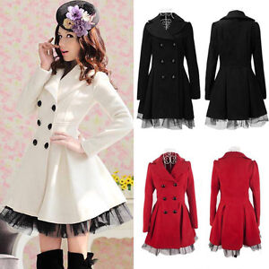 Women&amp039s Girl&amp039s Slim Peacoat Long Dress Jacket Double
