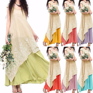 S-5XL-Women-Short-Sleeve-Round-Neck-Irregular-Party-Embroidered-Long-Maxi-Dress