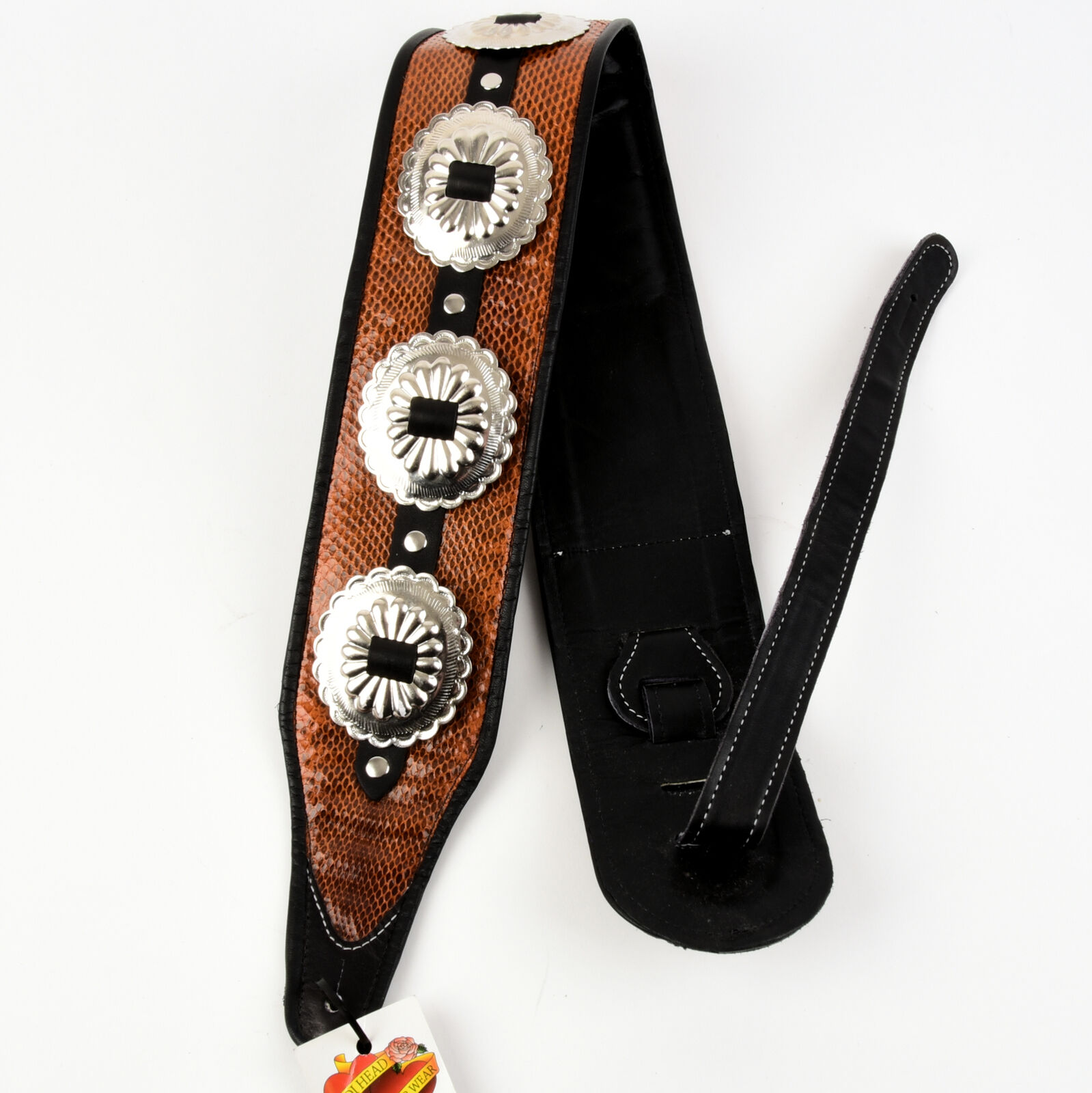 Jodi Head Handmade Leather Guitar Strap - Concho
