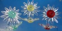 NEW (3) Swarovski CRYSTAL DAISY FLOWER FIGURINES Red Green Yellow Cake Toppers!
