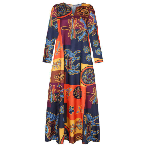 Plus Size Womens Boho Long Sleeve Maxi Dress Holiday Pocket Loose Kaftan Dresses