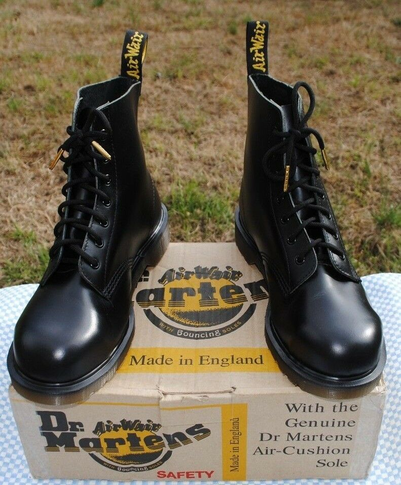 Nuovo di Zecca VINTAGE Martens Skinhead Stivali Dr Nero ANNI'90 Made in England