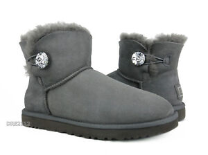 b5c41e34238 Details about UGG Australia Bailey Button Bling Mini Grey Boots Womens Size  9 *NIB*