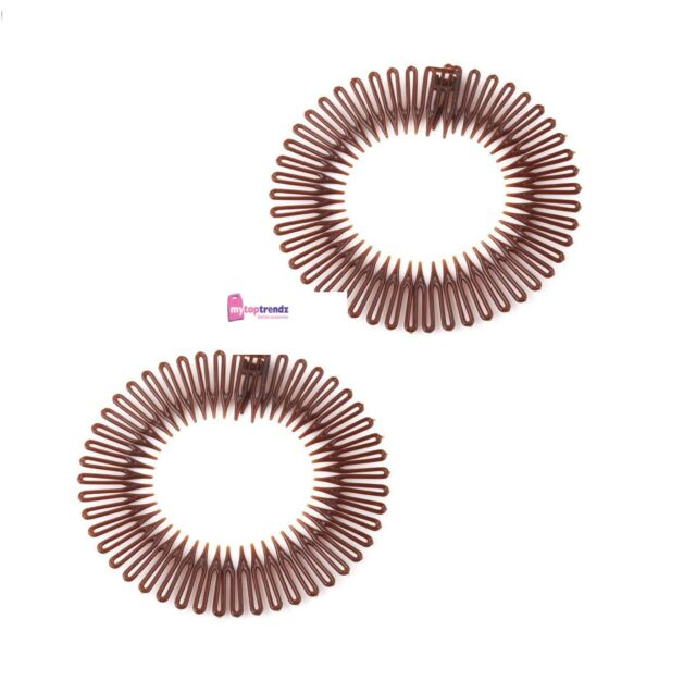 Stretch Zigzag Hair Band Headband BROWN Flexi Comb Headbands 1pair  UK  seller  2a1ce7aa628