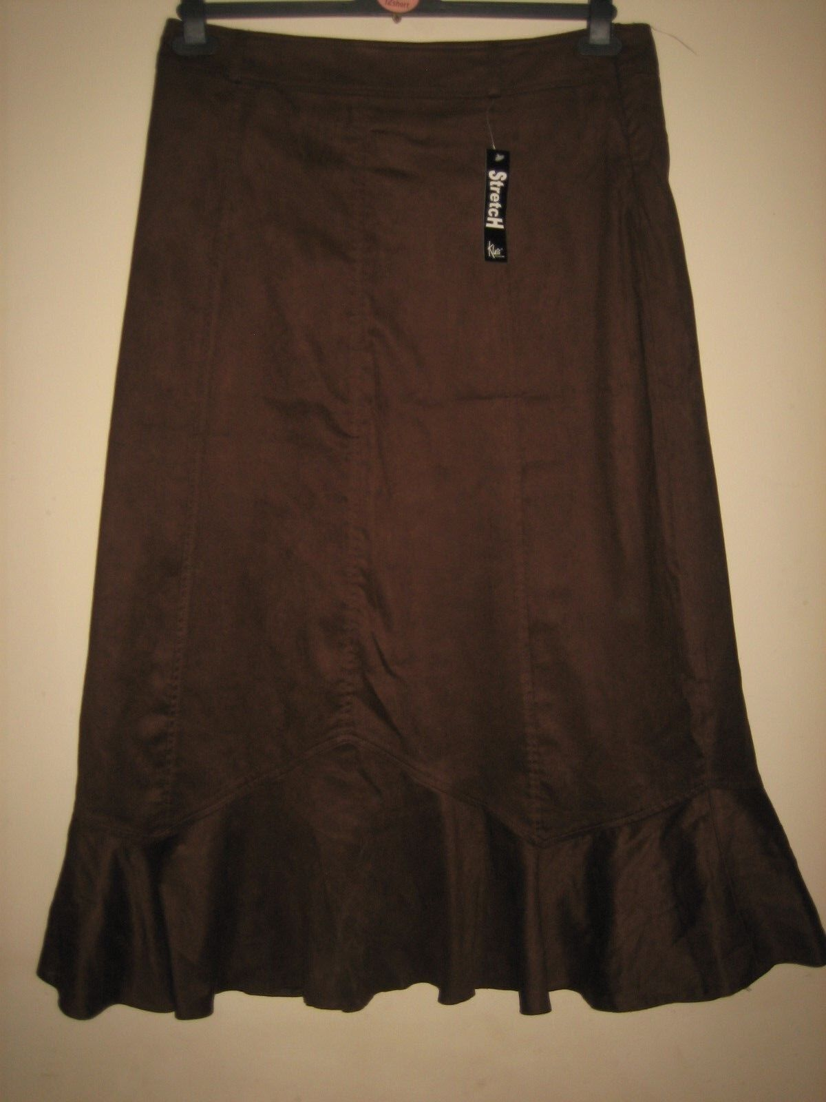 RC9( NEW WITH TAG ) A CHOC BROWN SKIRT KLASS COLLECTION ZIP SIZE 16   LENGTH 35