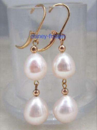 Details about  /Charming AAA 10-12mm real natural south sea white pearl earrings 14k Yellow Gold