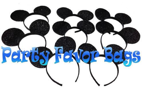 20 Mickey Minnie Mouse Ears Headbands Shiny Black Red Bow Party Favors Birthday