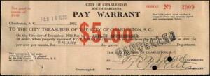 1932 Charleston South Carolina (SC) Charleston,SC Pay Warrant Axelie Speissegger