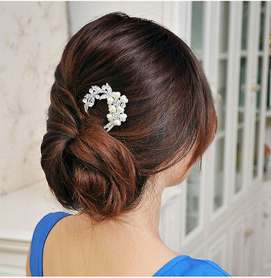 Crystal Rhinestone Pearls Hairpin Flower Diamante Hair Clip Comb Wedding Jewelry