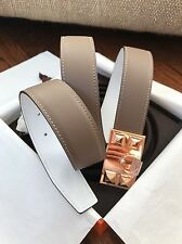 Authentic New HERMES Belt Kit Collier De Chien CDC Buckle Tosca/Etain  Size 90