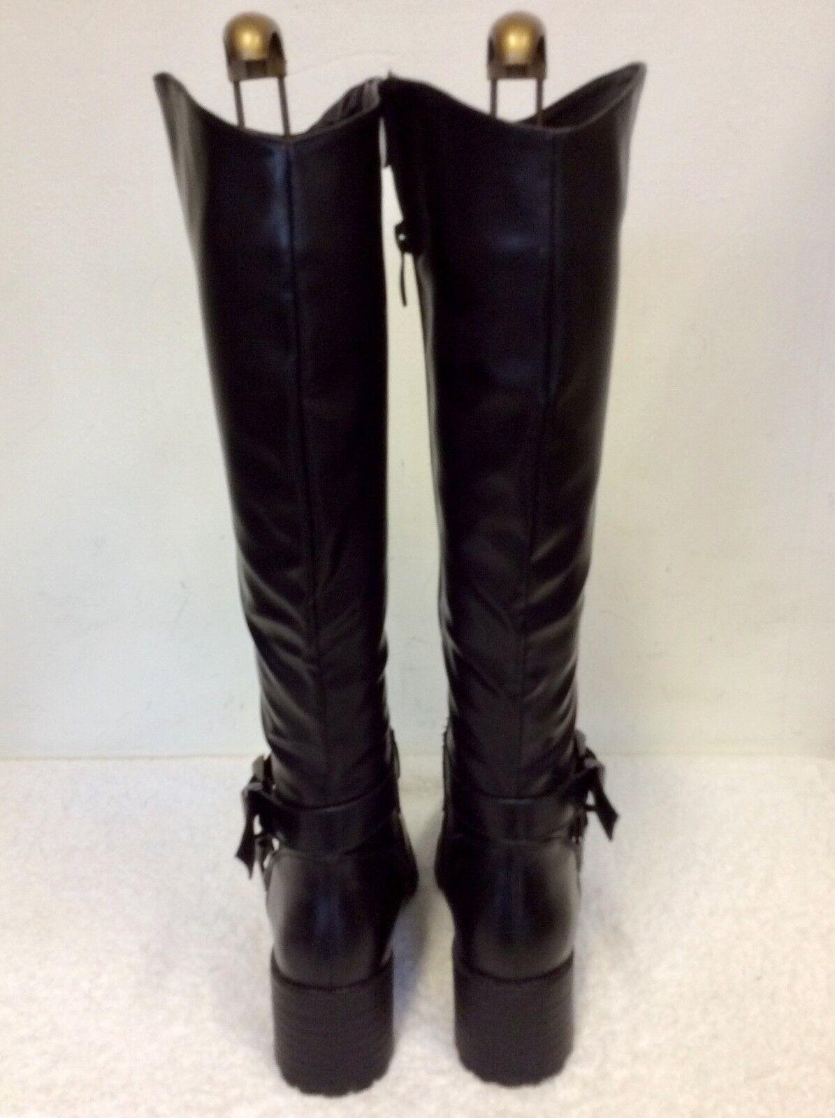 BRAND NEW NEW NEW IDEAL schuhe schwarz STUDDED BUCKLE TRIM KNEE LENGTH Stiefel Größe 5 38 0702b2