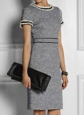 $425 Tory Burch Rosemary Blue Tweed Embellished Sheath Dress XS / UK 4 6 / US 2