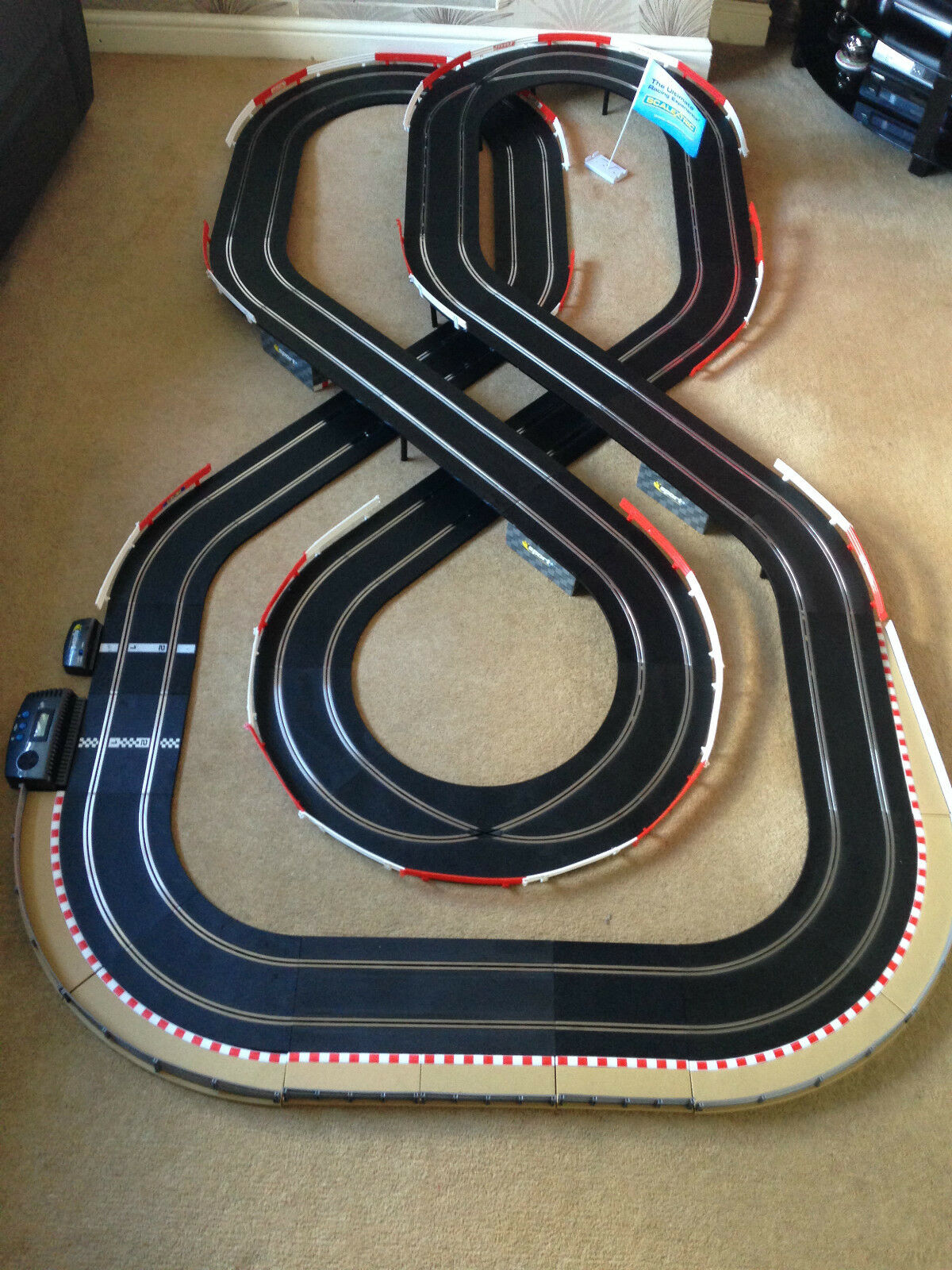 Scalextric Sport Layout with Lap Counter   Double Flyover   Xovers & 2 Cars