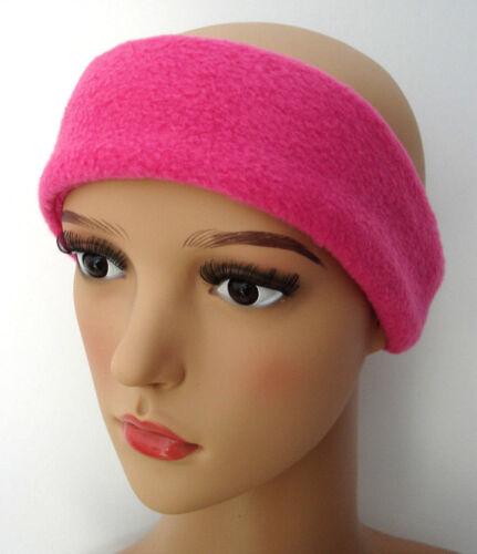Ladies women HEADBAND Raspberry PINK fleece warmer ski sport sweat gym hat 6cm