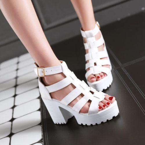 Womens Chunky Heels Platform Out Out T-Strap Roman Punk Sandals Shoes Plus Size