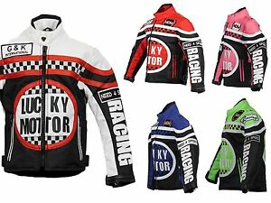 Kinder-Motorradjacke-Bikerjacke-Motorrad-Racing-Winddicht-Patch-Biker-Rocker