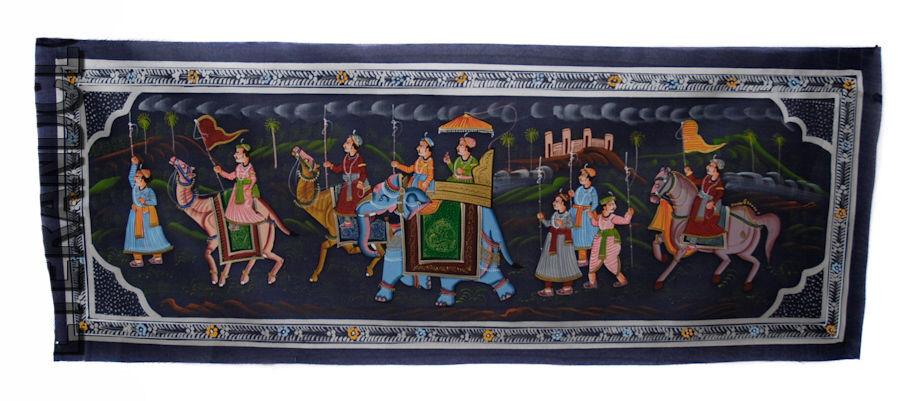 Peinture sur soie panneau Art Moghole  indien Inde  7