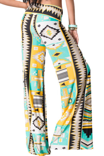 New Palazzo Pant Wide Leg Legged Tribal Aztec Print Yoga Pants