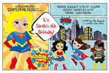 Item 2 Personalised Superhero Hero Birthday Party Invite Invitation Batgirl Supergirl