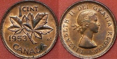 Brilliant Uncirculated 1953 Canada No Shoulder Fold Silver 1 Dollar