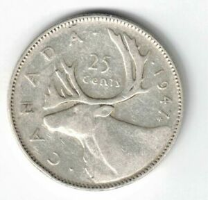 CANADA-1947ML-25-CENTS-QUARTER-KING-GEORGE-VI-CANADIAN-SILVER-COIN