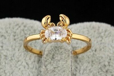 18K Gold Plated Fashion Crab Women Ring ~ Size: 6.5 + Extra Gift + Free Shipping