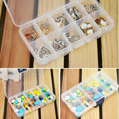Plastic 10 Slots Compartment Jewelry Beads Earrings Storage Box Case Organizer
