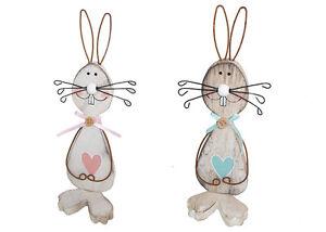 Pz 2 Coniglio Legno 21 Cm Per Decorazioni E Addobbi Primavera Pasqua