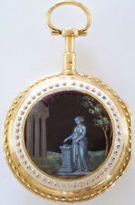 Antique Verge Fusee enamel pocket watch circa 1790's MINT cond. 20K Gold
