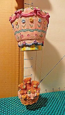Hot Air Balloon w/3 Brown Bears In Basket, Resin