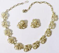 parure bijou vintage perle cristal collier boucles d'oreilles clips coul or 4865
