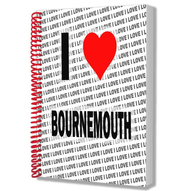 I Love Bournmouth - A5 Notebook Pad Diary Drawings Birthday Christmas Gift