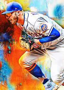 2021 Pete Alonso New York Mets 2/25 Art Blue ACEO Print Card By:Q